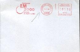 54908 Germany Red Meter Freistempel Ema, 2000 Frankfurt, European Table Tennis Champ. Tischtennis Tennis De Table - Tennis Tavolo