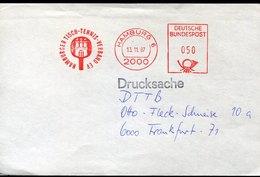 54910 Germany Red Meter Freistempel Ema, 1987 Hamburg  Table Tennis Society, Tischtennis Tennis De Table (front Of Cover - Tennis Tavolo