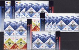 5x Jubiläum EUROPA Ukraine 766/7 VB+ZD ** 40€ Stamp On Stamps S/s Se-tenant UKRAINA Sets 1956-2006 Of 50 Years CEPT - 2006