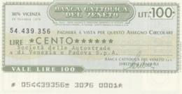 MINIASSEGNO BANCA CATTOLICA DEL VENETO AUTOSTRADE VENEZIA PADOVA L.100 FDS (YM368 - [10] Assegni E Miniassegni