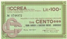 MINIASSEGNO ICCREA CINEMA RAMENGHI L.100 FDS (YM219 - [10] Scheck Und Mini-Scheck