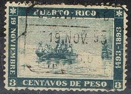 Sello Barquito Colon, PUERTO RICO, Colonia Española 1893. Edifil Num 101 º - Puerto Rico