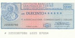 MINIASSEGNO ISTITUTO SAN PAOLO TORINO ASS COMM TORINO L.200 FDS (YM406 - [10] Scheck Und Mini-Scheck