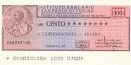 MINIASSEGNO ISTITUTO SAN PAOLO TORINO CONFESERCENTI TORINO L.100 FDS (YM392 - [10] Scheck Und Mini-Scheck