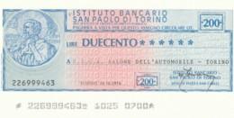 MINIASSEGNO ISTITUTO SAN PAOLO TORINO UICA L.200 FDS (YM395 - [10] Scheck Und Mini-Scheck