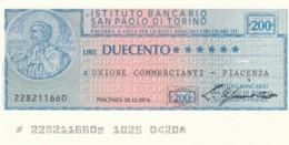 MINIASSEGNO ISTITUTO SAN PAOLO TORINO UN COMM PIACENZA L.200 FDS (YM391 - [10] Scheck Und Mini-Scheck