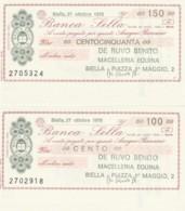 SERIE 2 MINIASSEGNI FDS BANCA SELLA DE RUVO (YM486 - [10] Scheck Und Mini-Scheck