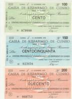 SERIE 3 MINIASSEGNI FDS CASSA RISPARMIO CUNEO UN COMM CUNEO (YM482 - [10] Scheck Und Mini-Scheck