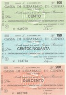 SERIE 3 MINIASSEGNI FDS CASSA RISPARMIO CUNEO UN COMM CUNEO (YM505 - [10] Scheck Und Mini-Scheck