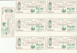 SERIE 8 MINIASSEGNI FDS BANCA SELLA STIL ART CORNICI (YM499 - [10] Scheck Und Mini-Scheck