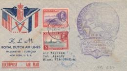 Curacao - 1943 - 30 & 5 Cent Luchtpost Op Censored LP-cover - Special Flight Van Curacao Naar Miami / USA - Niederländische Antillen, Curaçao, Aruba