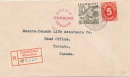 Curacao - 1941 - 5 Cent Cijfer & 25 Cent Luchtpost Op Censored R-LP-cover Van Curacao Naar Toronto / Canada - Curaçao, Antilles Neérlandaises, Aruba