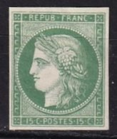 FRANCE - 15 C. Vert-clair Neuf FAUX - 1849-1850 Ceres