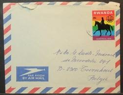 Rwanda - Cover To Belgium 1976 Olympic Games Horse 26F Solo - Ruanda