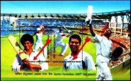 CRICKET- SACHIN TENDULKAR-200th TEST MATCH-ERROR-MS-DRAMATIC PERFORATION SHIFT-RARE-MNH-INDIA-2013-MSE-62 - Cricket