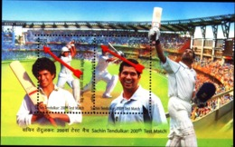 CRICKET- SACHIN TENDULKAR-200th TEST MATCH-ERROR-MS-DRAMATIC PERFORATION SHIFT-RARE-MNH-INDIA-2013-MSE-66 - Cricket