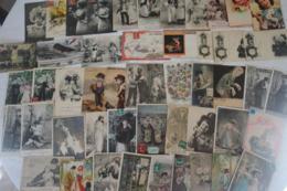 FANTAISIE - Lot D'environ 500 Cartes - Enfants - Bébés - Glacés - Gaufrées - Amoureux - Femmes - Fantaisies