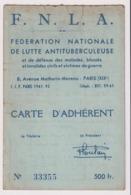 CARTE F.N.L.A.Fédération Nationale De Lutte Antitubérculeuse 1958 . Habitant à SAINT LAURENT DE BREVEDENT - Historical Documents