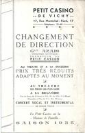 """Programme Petit Casino De Vichy 1935 """"La Mouche Espagnole"""" Vaudeville Bach Et Devère Georges Zehr Laurence Parfait... - Programs"""