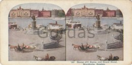 Sweden - Stockholm - Gustav III Statue And Grand Hotel - Stereoscopic Photo - 175x90mm - Stereoscoop