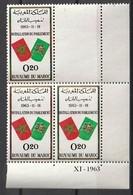 Maroc. Coin Daté De 3 Timbres 1963. Yvert Et Tellier N° 468. Installation Du Parlement. - Morocco (1956-...)
