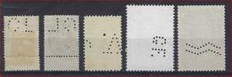 BELGIQUE - PERFORE - LOT De 5 TIMBRES PERFORES BELGES - PERFINS ; LOOK 2 SCANS ! - Lochung