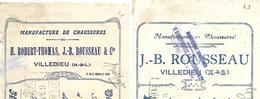 2 Traites 1922-25 / 49 VILLEDIEU / Manufacture De Chaussures / ROBERT-THOMAS-ROUSSEAU - Wechsel