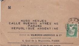 ENVOU DE VILMORIN ANDRIEUX &CIE. FRANCE ENVELOPPE CIRCULEE DE PARIS A PARANA, ARGENTINE ANNEE 1929 -LILHU - Francia