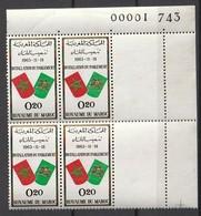 Maroc. Coin Numéroté De 4 Timbres 1963. Yvert Et Tellier N° 468. Installation Du Parlement. - Morocco (1956-...)