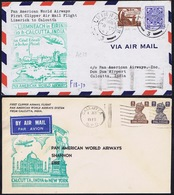 Ireland Airmail 1947 Pan Am Shannon To Calcutta And Return, Covers Carried On Both Legs PAA Cachets In Green - Poste Aérienne