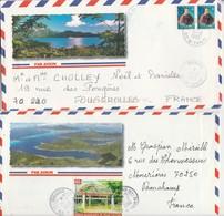 Lot De 2 Enveloppes Illustrées De Polynésie / Cachet De Taravao / Cachet Commune Associée - Tahití