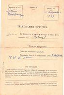DOCUMENT   Ancien De  BELRUPT  (Meuse) - Télégramme Officiel D' Ordre De MOBILISATION  GÉNÉRALE  1939  (13,5 X 20,5) - Historical Documents
