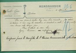 33 Coutras Gros Emile Commision Consignation 16 Novembre 1906 ( Filigrane Voiron ) - Altri