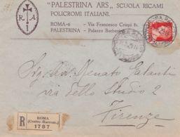 1929 IMPERIALE Lire 1,75 Isolato Su Raccomandata Roma (11.8) Con Intestazione Palestrina Ars, Scuola Ricami Policromi It - Marcophilia