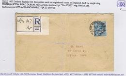 Ireland 1922 Dollard Black 10d On Registered Cover MOREHAMPTON ROAD DUBLIN 30 JA 23 To Lytham - 1922 Gouvernement Provisoire