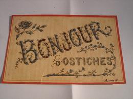 RARE CPA !! OSTICHES ( ATH ) - UN BONJOUR ( 1906 - CARTE A PAILLETTES - EDITION PREAUX ) - Ath
