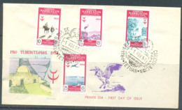Morocco 1954 First Day Cover, Tuberculosis, 4 Stamps, Special Cancellation - Morocco (1956-...)