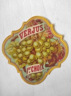 Magnifique étiquette Ancienne - Alcool Apéritif - Verjus 1er Choix - Depres - Vernis - - Other