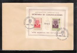 Argentina 1960 World Refugees Year Block FDC - Refugees
