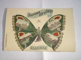 BELLE CPA FANTAISIE !! LESSINES ( ATH FLOBECQ ) - SOUVENIR AFFECTUEUX ( 4 VUES DANS UN PAPILLON ART NOUVEAU ) - 1912 - Lessen