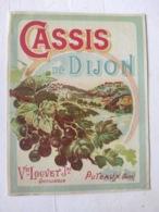 Magnifique étiquette Ancienne - Alcool Apéritif - Cassis De Dijon - Veuve Louvet Distillateur Puteaux - NEUF - Other