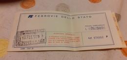 BIGLIETTO TRENO DA MILANO CENTRALE A BOLOGNA CENTRALE 1989 - Railway