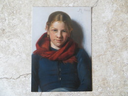 CPM Peinture Michael Ancher Jeune Femme Avec Echarpe Rouge Spagenspigen Maren Sofie Olsen Med Et Rodt 1884 - Peintures & Tableaux