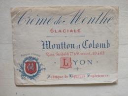 Magnifique étiquette Ancienne - Liqueurs Crème De Menthe Glaciale - Moutton Et Colomb Rue Garibaldi Et Bossuet Lyon - Other