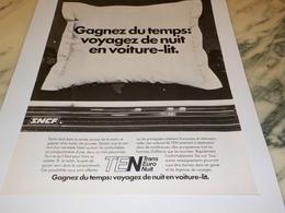 ANCIENNE PUBLICITE GAGNEZ DU TEMPS VOYAGEZ DE NUIT SNCF 1978 - Ferrocarril
