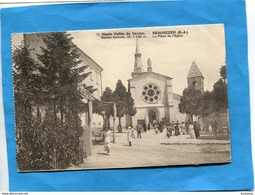 BEAUVEZER-la Place De L'église- Le Café--sortie De Messe -animée-a Voyagé En 1926-éditionTairraz - France