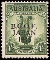 Scott M5   1/- Lyre Bird Overprinted British Commonwealth Occupation Of Japan Overprinted B.C.O.F. Japan 1946. Unu... - Japon (BCOF)