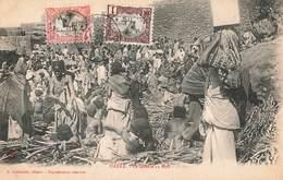 Ethiopie Harar Le Marché Au Bois Carte Animée + Timbre Timbres Cote Française Des Somalis - Ethiopia