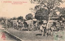 Cambodge Pnom Penh Campement D' Une Caravane De Charrettes à Boeufs Charrette Boeuf + Timbre Indochine - Cambodia