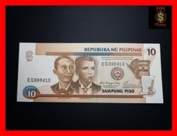 PHILIPPINES 10 Piso 2001 P. 187 I Black Serial    UNC - Philippines